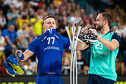 Luka Zvizej and Uros Zorman hanging their shoes during handball event named Rokometna simfonija organised as a game between Zorman's team and Zvizej's team when Uros Zorman and Luka Zvizej officially retire from their professional handball career, on October 24, 2019 in Arena Zlatorog, Celje, Slovenia. Photo by Grega Valancic/ Sportida
