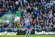 Sheffield Wednesday midfielder Jacob Murphy (14) heads the ball during the The FA Cup match between Brighton and Hove Albion and Sheffield Wednesday at the American Express Community Stadium, Brighton and Hove, England on 4 January 2020.