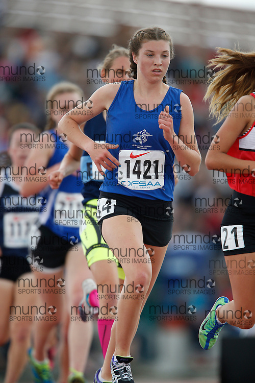 Alysaa Bolliger of Our Lady Lourdes CHS - Guelph competes in the senior girls 3000m at the 2013 OFSAA Track and Field Championship in Oshawa Ontario, Saturday,  June 8, 2013.<br /> Mundo Sport Images/ Geoff Robins