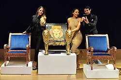 © Licensed to London News Pictures. 29/02/2016. VICTORIA BAKER-HARBER, EMMA, VISCOUNT WEYMOUTH and MARK-FRANCIS VANDELLI attend the Bonham's Chair Auction for Chiva African Aids Charity. They etched designed chairs for the auction . London, UK. Photo credit: Ray Tang/LNP