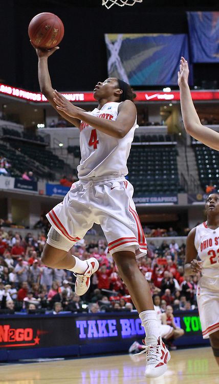 March 03, 2012; Indianapolis, IN, USA; Ohio State Buckeyes guard Tayler Hill (4) puts the ball up against the Nebraska Cornhuskers during the semifinals of the 2012 Big Ten Tournament at Bankers Life Fieldhouse. Nebraska defeated Ohio State 77-62. Mandatory credit: Michael Hickey-US PRESSWIRE