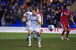 BIRKENHEAD, ENGLAND - Monday, January 3, 2011: Tranmere Rovers' Aaron Cresswell looks dejected as his penalty kick is saved against Carlisle United, the third missed penalty of the game, during the Football League One match at Prenton Park. (Pic by: David Rawcliffe/Propaganda)