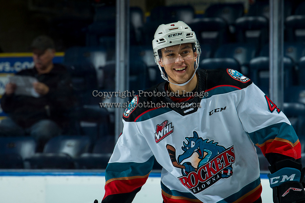 KELOWNA, BC - JANUARY 4:  Devin Steffler #4 of the Kelowna Rockets warms up against the Vancouver Giants at Prospera Place on January 4, 2020 in Kelowna, Canada. (Photo by Marissa Baecker/Shoot the Breeze)