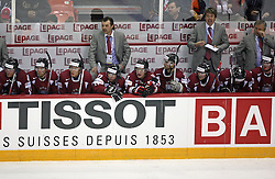 Players of Latvija (in the middle Head coach of Latvija Olegs Znaroks) at ice-hockey match USA vs Latvia at IIHF WC 2008 in Halifax,  on May 02, 2008 in Metro Center, Halifax, Canada.  (Photo by Vid Ponikvar / Sportal Images)