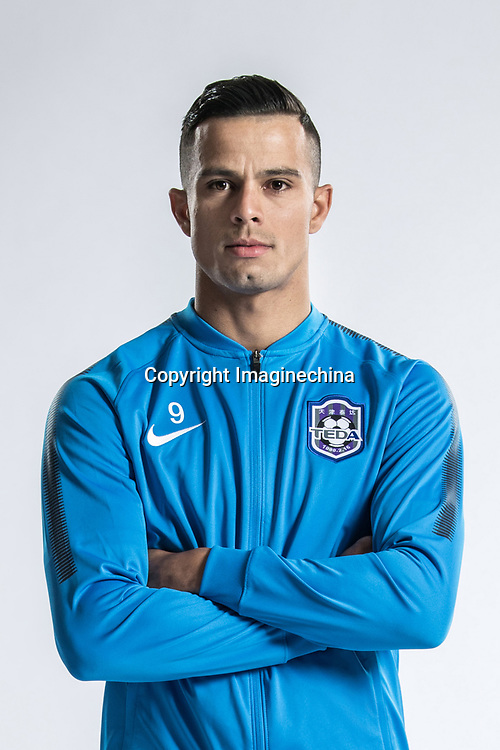 **EXCLUSIVE**Portrait of Brazilian soccer player Johnathan Aparecido da Silva, commonly known as Johnathan, of Tianjin TEDA F.C. for the 2018 Chinese Football Association Super League, in Tianjin, China, 28 February 2018.