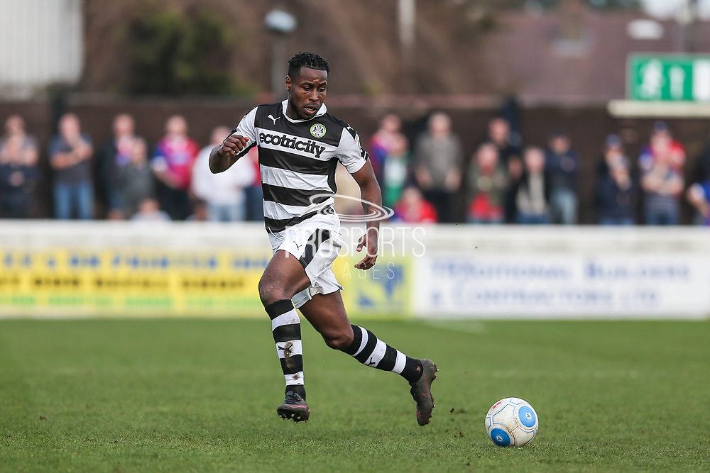 Forest Green Rovers Dale Bennett(6) runs forward during the Vanarama National League match between Dagenham and Redbridge and Forest Green Rovers at the London Borough of Barking and Dagenham Stadium, London, England on 11 March 2017. Photo by Shane Healey.