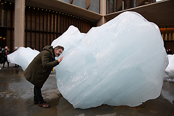 © Licensed to London News Pictures. 11/12/2018. London, UK. Artist Olafur Eliasson launches Ice Watch display blocks of melting glacier ice across two public sites in the centre of London to create a major artwork. Photo credit: Ray Tang/LNP