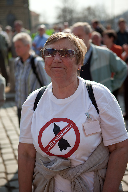 Protestor against the planned US military radar base in Czech Republic on the day of Barack Obamas arrivel to Prague.