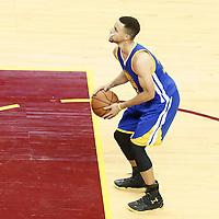 10 June 2016: Golden State Warriors guard Stephen Curry (30) is seen at the free throw line during the Golden State Warriors 108-97 victory over the Cleveland Cavaliers, during Game Four of the 2016 NBA Finals at the Quicken Loans Arena, Cleveland, Ohio, USA.