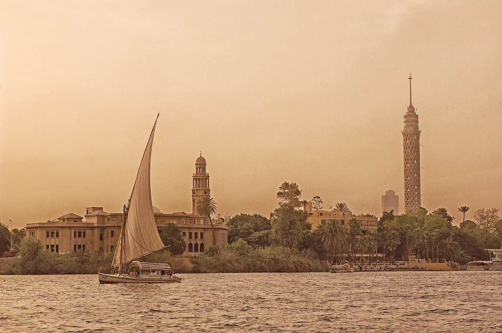 Felucca on Nile River, Sail Boat, Cairo, Egypt