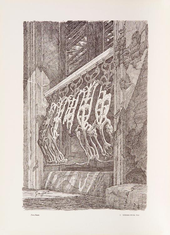 Cat. #21 - Lithographic print of Pen and Ink drawing of typical wrought iron balcony railing, of strong Spanish influence, as can be found in the old cities of San Juan, Puerto Rico, Havana, Cuba and throught the Caribbean. Printed on pebbled, heavy weight stock.<br /> Paper size is 11 x 15&quot;. Image size is approximately 8 x 12&quot; <br /> Catalogo #21 - Impresi&oacute;n litogr&aacute;fica de un dibujo a plumilla de una t&iacute;pica baranda de hierro forjado, de ifluencia totalmente espanola, que se puede encontrar en las antiguas casas de San Juan, Puerto Rico, La Habana, Cuba y a trav&eacute;s del Caribe. Impreso en papel grueso y textura liviana.<br /> Tama&ntilde;o del papel es 11 x 15&quot;. Tama&ntilde;o de la imagen es aproximadamente 8 x 12&quot;