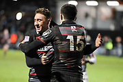 Dougie Fife congratulates Blair Kinghorn after scoring try during the Guinness Pro 14 2017_18 match between Edinburgh Rugby and Southern Kings at Myreside Stadium, Edinburgh, Scotland on 5 January 2018. Photo by Kevin Murray.