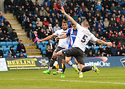 Gillingham defender John Egan fires Gillingham into a 2-1 lead during the Sky Bet League 1 match between Gillingham and Bury at the MEMS Priestfield Stadium, Gillingham, England on 14 November 2015. Photo by David Charbit.