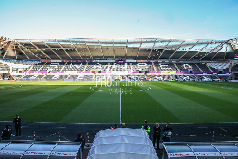 General view of the stadium before the Premier League match between Swansea City and Crystal Palace at the Liberty Stadium, Swansea, Wales on 26 November 2016. Photo by Andrew Lewis.