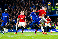 Alvaro Morata of Chelsea and Chris Smalling of Manchester United compete for the ball - Rogan/JMP - 05/11/2017 - FOOTBALL - Stamford Bridge - London, England - Chelsea v Manchester United - Premier League.