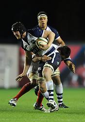 Bristol Rugby blindside flanker, Nick Koster is tackled by London Scottish openside flanker, Chris Walker - Photo mandatory by-line: Dougie Allward/JMP - Mobile: 07966 386802 - 05/12/2014 - SPORT - Rugby - Bristol - Ashton Gate - Bristol Rugby v London Scottish - B&I Cup