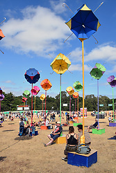 Latitude Festival, Henham Park, Suffolk, UK July 2018. Solar umbrella lights