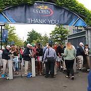 2017 U.S. Open Tennis Tournament - DAY TWO. Fans enter through the turnstiles at the US Open Tennis Tournament at the USTA Billie Jean King National Tennis Center on August 29, 2017 in Flushing, Queens, New York City.  (Photo by Tim Clayton/Corbis via Getty Images)