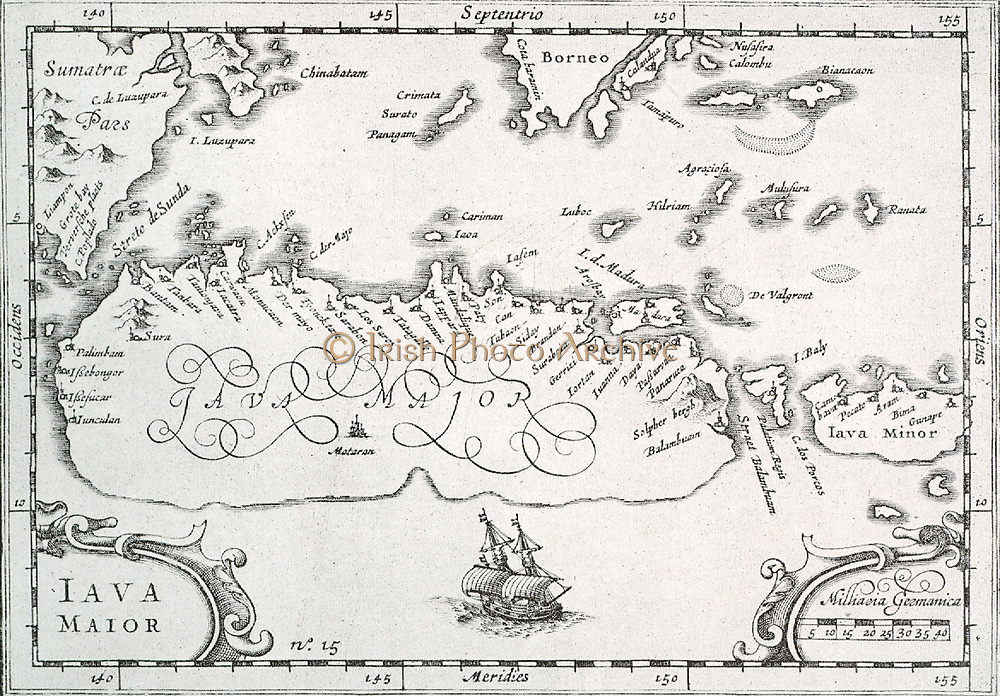 Map of the island of Java to Bali and Lombok, as the Dutch, who first visited the Indonesian Archipelago, knew it.  The art of Java was still quite unknown and is only sketchily indicated.  Taken from the journal of Houtman (1595).