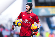 Petr Cech of Arsenal (1) warming up during the Premier League match between Huddersfield Town and Arsenal at the John Smiths Stadium, Huddersfield, England on 9 February 2019.