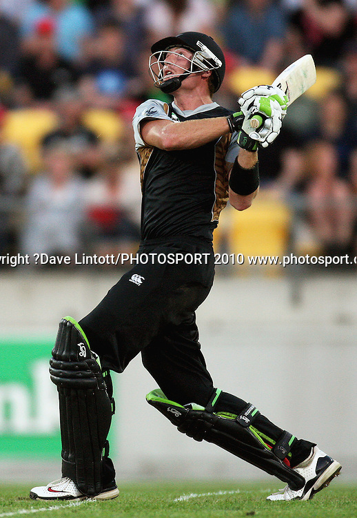 NZ's Martin Guptill skies a delivery to Shane Watson.<br /> 1st Twenty20 cricket match - New Zealand v Australia at Westpac Stadium, Wellington. Friday, 26 February 2010. Photo: Dave Lintott/PHOTOSPORT