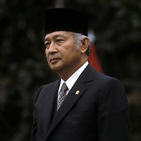 Indonesian President H. Muhammad Suharto during an October 1982 visit to the White House in Washington, DC.