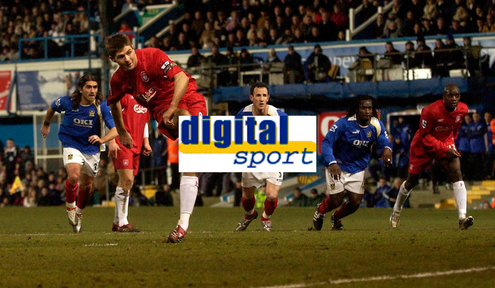 Photo: Daniel Hambury.<br />Portsmouth v Liverpool. The FA Cup. 29/01/2006.<br />Liverpool's Steven Gerrard scores from the spot to make it 1-0.
