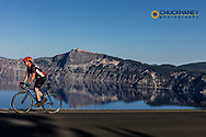 Road Cycling in Crater Lake National Park, Oregon, USA model released
