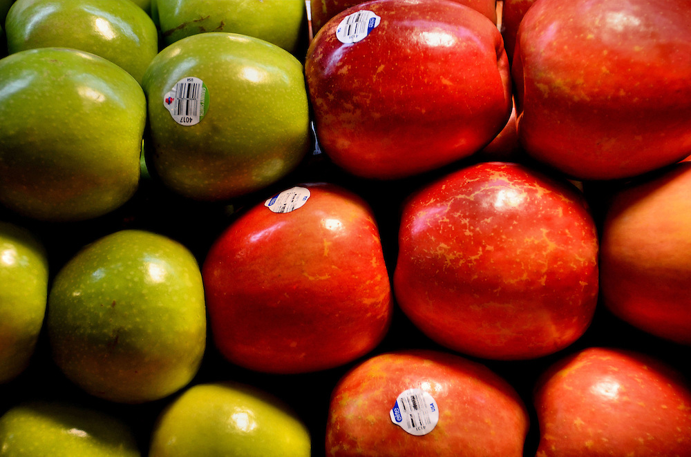 Granny Smith and Gala Apples on Display at Public Market Center in Seattle, Washington
