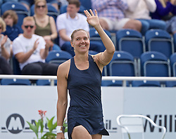LIVERPOOL, ENGLAND - Sunday, June 23, 2019: Kaia Kanepi (EST) celebrates after winning the Ladies' Final 6-2, 6-2 on Day Four of the Liverpool International Tennis Tournament 2019 at the Liverpool Cricket Club. (Pic by David Rawcliffe/Propaganda)