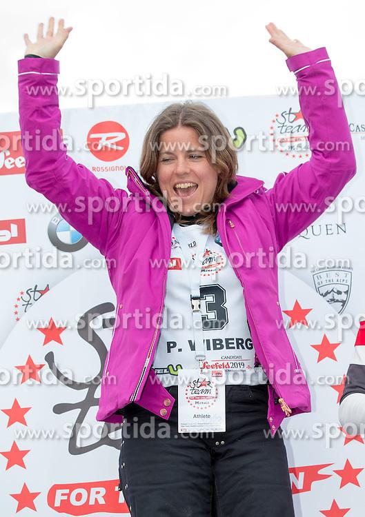 22.03.2014, Sportalm, Seefeld, AUT, 8. World Star Ski Event, Star Team for Children, Preisverleihung, im Bild Podium Biathlon Damen Pernilla Wiberg (Olympiasiegerin und Weltmeisterin Ski Alpin, 1. Platz) // during the award ceremony of Star Team for Children of 8th World Star Ski Event at the Sportalm in Seefeld, Austria on 2014/03/22. EXPA Pictures © 2014, PhotoCredit: EXPA/ Johann Groder