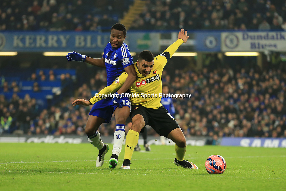 4 January 2015 - The FA Cup 3rd Round - Chelsea v Watford - Troy Deeney of Watford tangles with John Obi Mikel of Chelsea - Photo: Marc Atkins / Offside.