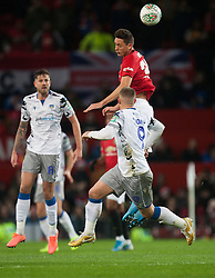 Nemanja Matic of Manchester United (Top) in action - Mandatory by-line: Jack Phillips/JMP - 18/12/2019 - FOOTBALL - Old Trafford - Manchester, England - Manchester United v Colchester United - English League Cup Quarter Final