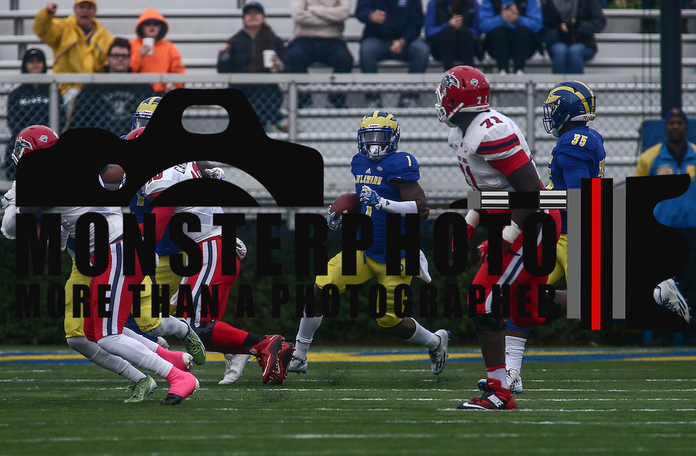 Delaware defensive back MALCOLM BROWN (1) returns a interception 16 yards during a week eight game between the Delaware Blue Hens and the Stony Brook Seawolves, Saturday, Oct. 22, 2016 at Tubby Raymond Field at Delaware Stadium in Newark, DE.