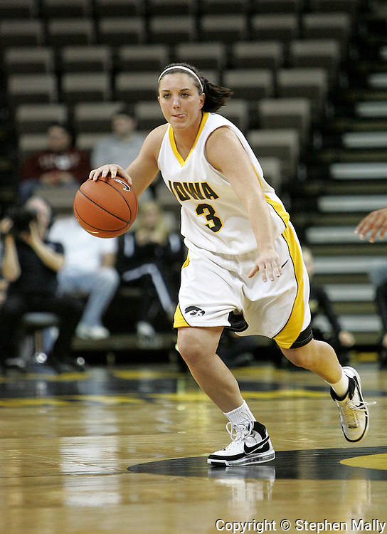 28 NOVEMBER 2007: Iowa guard Abby Emmert (3) in the first half of Georgia Tech's 76-57 win over Iowa in the Big Ten/ACC Challenge at Carver-Hawkeye Arena in Iowa City, Iowa on November 28, 2007.