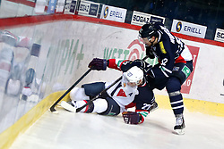 04.01.2015, Dom Sportova, Zagreb, CRO, KHL League, KHL Medvescak vs Slovan Bratislava, 43. Runde, im Bild Shaone Morrisonn, Nagy Ladislav. // during the Kontinental Hockey League 43th round match between KHL Medvescak and Slovan Bratislava at the Dom Sportova in Zagreb, Croatia on 2015/01/04. EXPA Pictures © 2015, PhotoCredit: EXPA/ Pixsell/ Davor Puklavec<br /> <br /> *****ATTENTION - for AUT, SLO, SUI, SWE, ITA, FRA only*****