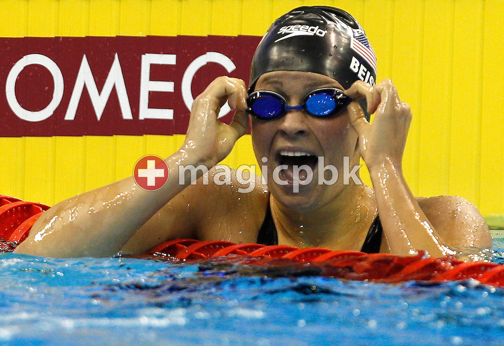 Winner Elizabeth BEISEL of the USA reacts after finishing first in the women's 400m Individual Medley (IM) Final during the 14th FINA World Aquatics Championships at the Oriental Sports Center in Shanghai, China, Sunday, July 31, 2011. (Photo by Patrick B. Kraemer / MAGICPBK)