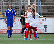 Spartans' Louise Mason is congraulated by Ronaigh Douglas after scoring the only goal of the match  - Forfar Farmington v Spartans in the Scottish Womens Premier League at Station Park, Forfar. Photo: David Young<br /> <br />  - &copy; David Young - www.davidyoungphoto.co.uk - email: davidyoungphoto@gmail.com