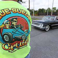Motorist begin to make their way into the parking lot of the BancorpSouth Arena Friday morning to kickoff this year's Blue Suede Cruise in Tupelo.