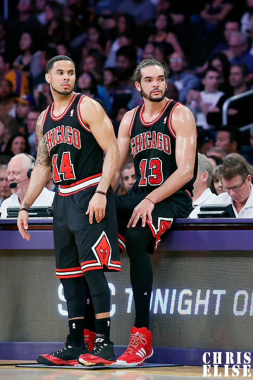 09 February 2014: Chicago Bulls point guard D.J. Augustin (14) and Chicago Bulls center Joakim Noah (13) rest during the Chicago Bulls 92-86 victory over the Los Angeles Lakers at the Staples Center, Los Angeles, California, USA.