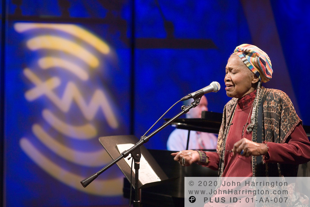 "Odetta, american folk music, blues, and spirituals singer, performs at XM studios on Monday December 12, 2005.  The performance was part of XM's ""Artist Confidential"" series."