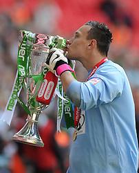 Yeovil Town's Marek Stech celebrates winning the League One Play Off Final  - Photo mandatory by-line: Joe Meredith/JMP - Tel: Mobile: 07966 386802 19/05/2013 - SPORT - FOOTBALL - LEAGUE 1 - PLAY OFF - FINAL - Wembley Stadium - London - Brentford V Yeovil Town