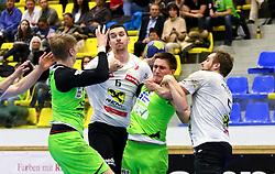 13.02.2016, BSFZ Südstadt, Maria Enzersdorf, AUT, HLA, SG INSIGNIS Handball WESTWIEN vs HSG Raiffeisen Bärnbach/Köflach, Unteres Play Off, 2. Runde, im Bild Wilhelm Jelinek (WestWien), Alen Kulenovic (Baernbach/Koeflach), Jakob Jochmann (WestWien), Christian Hallmann (Baernbach/Koeflach)// during Handball League Austria, 2 nd round match between SG INSIGNIS Handball WESTWIEN and HSG Raiffeisen Bärnbach/Köflach at the BSFZ Südstadt, Maria Enzersdorf, Austria on 2016/02/13, EXPA Pictures © 2016, PhotoCredit: EXPA/ Sebastian Pucher