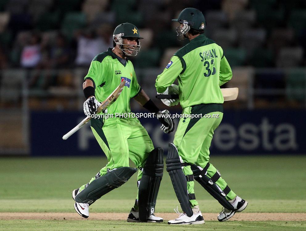 Misbah-ul-Haq celebrates with Sohail Tanvir after defeating New Zealand in the 4th ODI, Black Caps v Pakistan, One Day International Cricket. McLean Park, Napier, New Zealand. Tuesday 1 February 2011. Photo: Andrew Cornaga/photosport.co