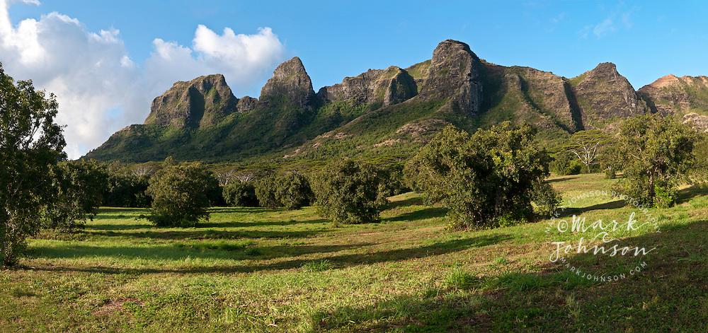 Panorama of the Kalalea Mountains (Anahola Mountains), Kauai, Hawaii