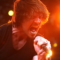 Rick DeJesus of the band Adelitas Way sings onstage at the Rockstar Energy Drink Festival at the 1-800-Ask-Gary amphitheater in Tampa, Florida on Thursday, September 13, 2012. (AP Photo/Alex Menendez)