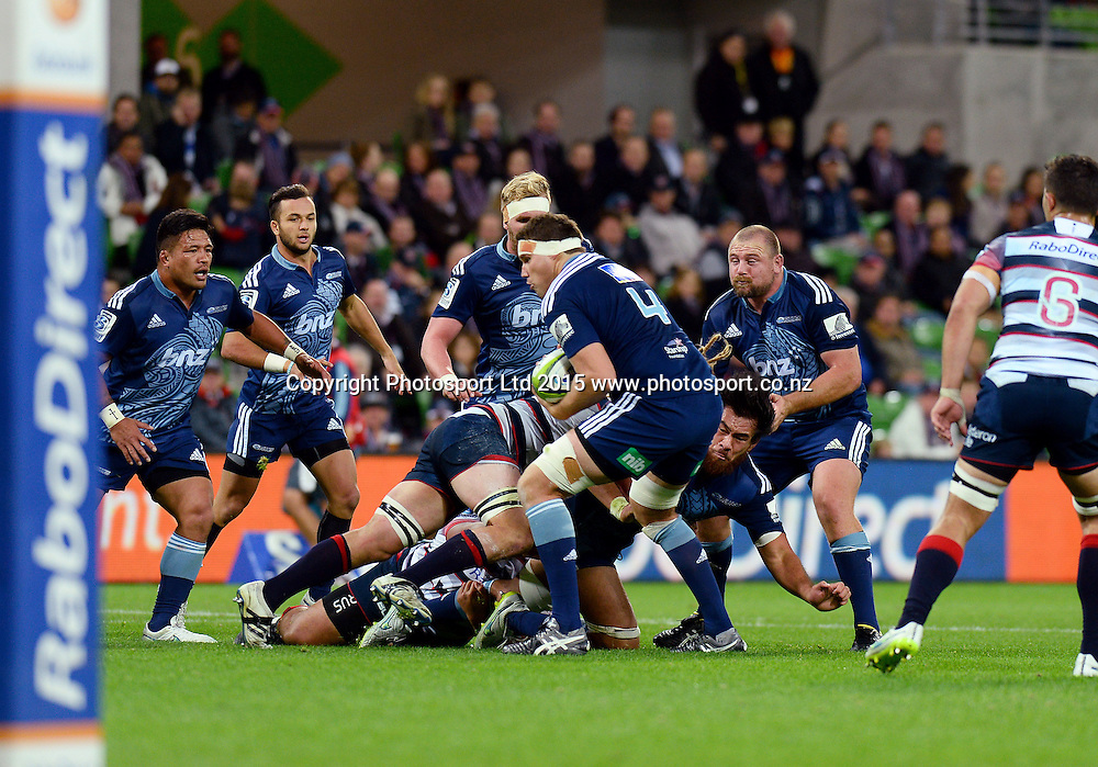 Culum Retalick (Blues)<br /> Auckland Blues vs Melbourne Rebels<br /> Rugby Union - 2015 Investec Super Rugby <br /> AAMI Park, Melbourne Australia<br /> Friday 8th May 2015<br /> &copy; Sport the library / Jeff Crow