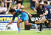 Matt Vaega scores a try during a pre season Super Rugby match. Blues v Storm, Pakuranga Rugby Club, Auckland, New Zealand. Thursday 4 February 2016. Copyright Photo: Andrew Cornaga / www.Photosport.nz
