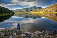 A fly fisherman fishes for trout in the evening at Pearl Lake State Park in northwest Colorado, near Steamboat Springs. http://www.gettyimages.com/license/508598296