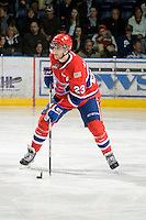 KELOWNA, CANADA, JANUARY 4: Corbin Baldwin #23 of the Spokane Chiefs skates with the puck as the Spokane Chiefs visit the Kelowna Rockets on January 4, 2012 at Prospera Place in Kelowna, British Columbia, Canada (Photo by Marissa Baecker/Getty Images) *** Local Caption ***